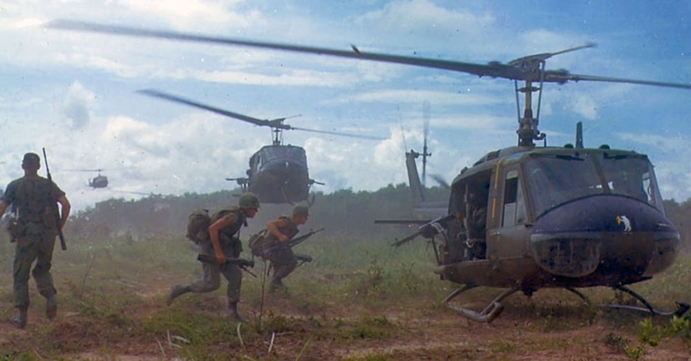 A Dust-Off helicopter evacuates the wounded in Vietnam.