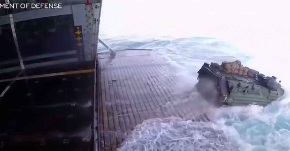 The heavy amphibious vehicle likely sank within minutes after being compromised.