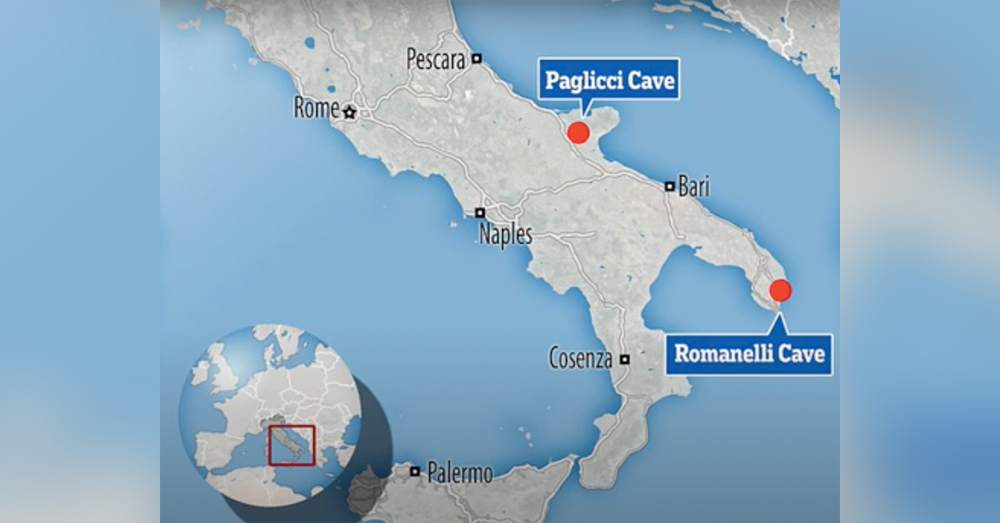 The bones were discovered in caves in southern Italy.