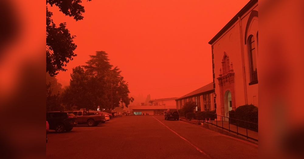 An unaltered picture near the current fires Mendocino County, California.
