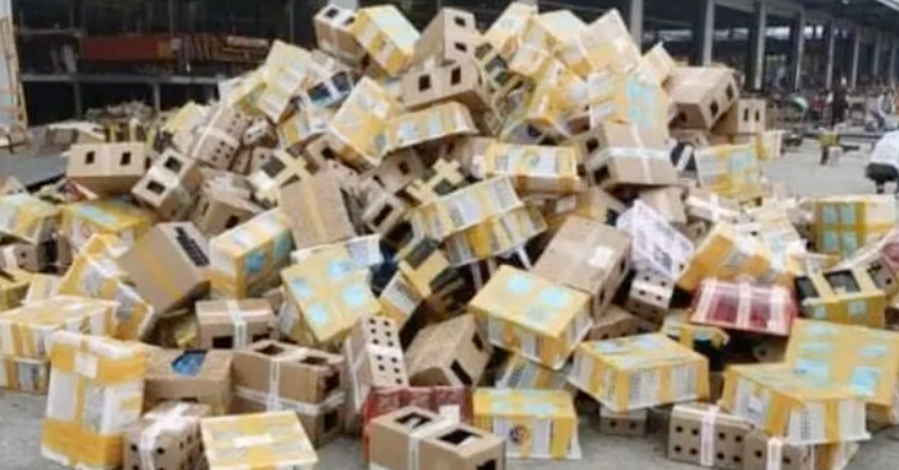 Thousands of boxes contain animals sent from a breeding operation.