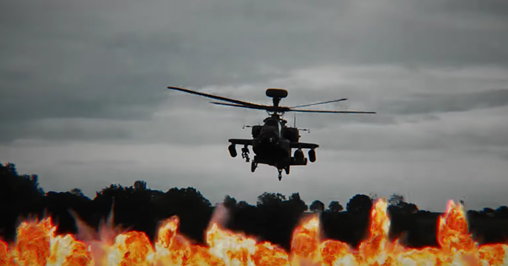 The Apache attack helicopter is able to fly close to the troops she is supporting.