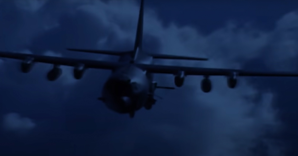 At night, the AC-130 is a threatening presence.