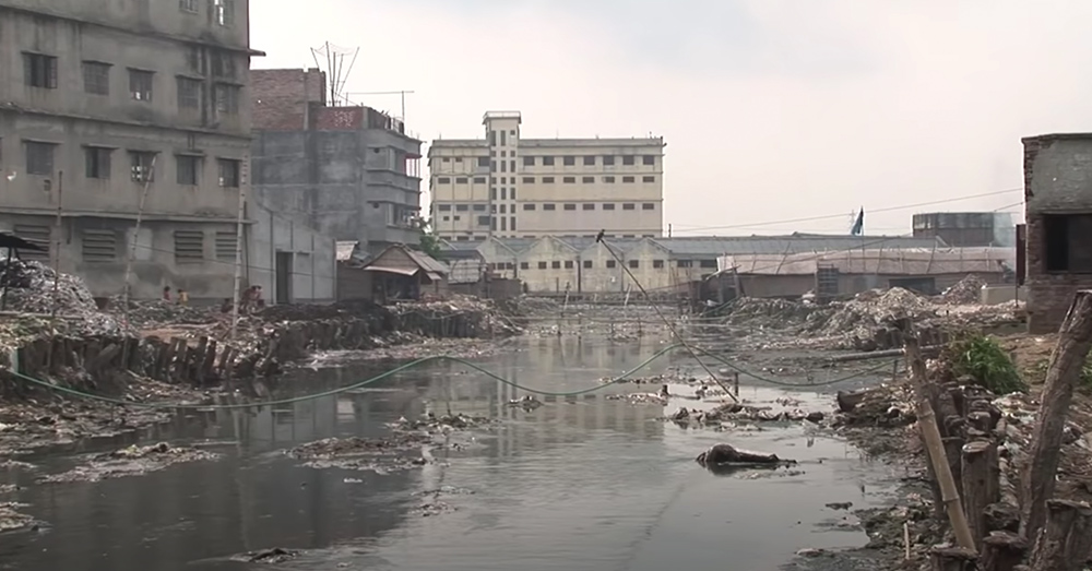 Rivers in Asia turn black when polluted with dyes from garment manufacturing.