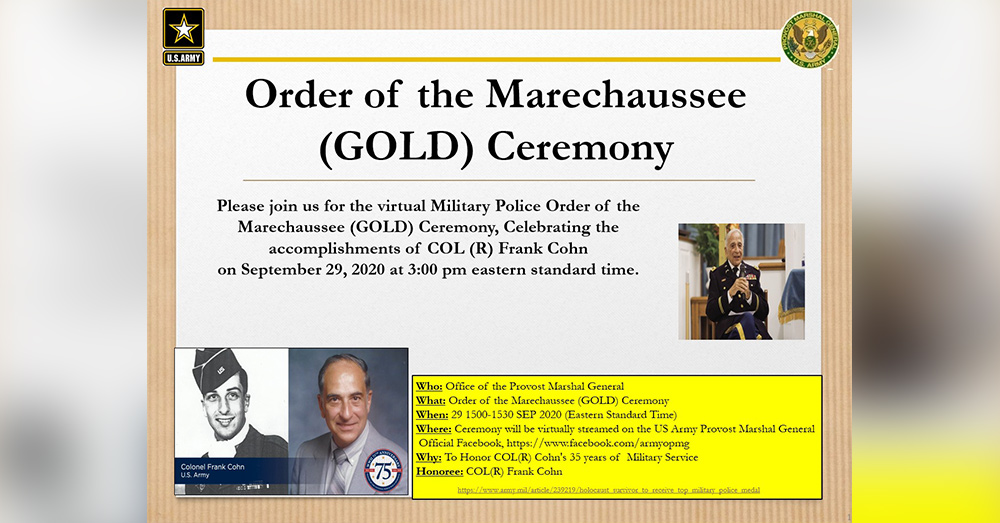 Cohn's most recent award is the Order of the Marechaussee.