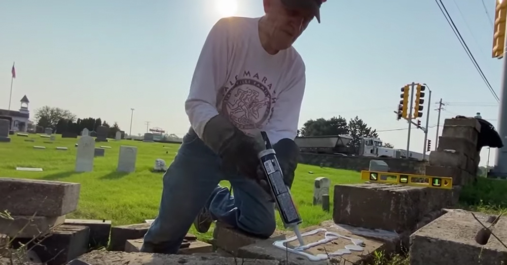 Marine veteran George Tillet repaired the wall of his local cemetery after it was hit by a drunk driver.