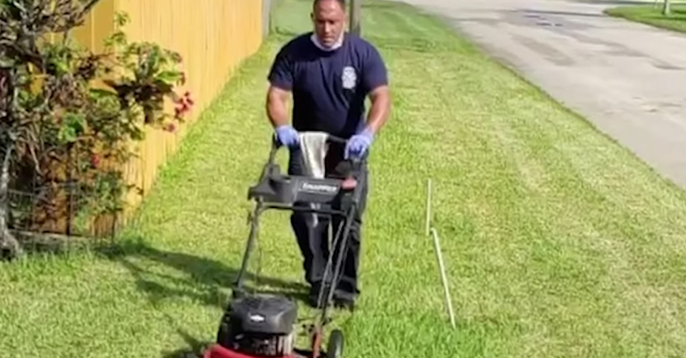 The first responders who helped Pinkney also mowed his lawn.