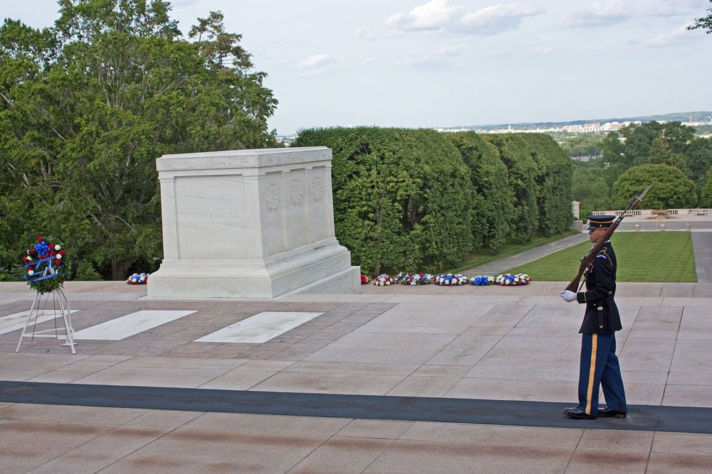 The Tomb of the Unknown Soldier at Arlington.