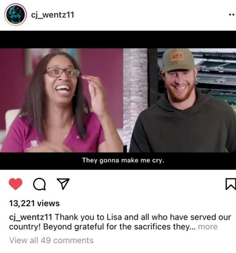 Wentz gave Sgt. Crutch a shoutout on instagram, too.