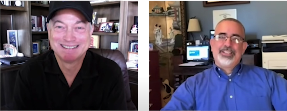 Gary Sinise spoke to Navy veteran Bill Day over a Zoom call.