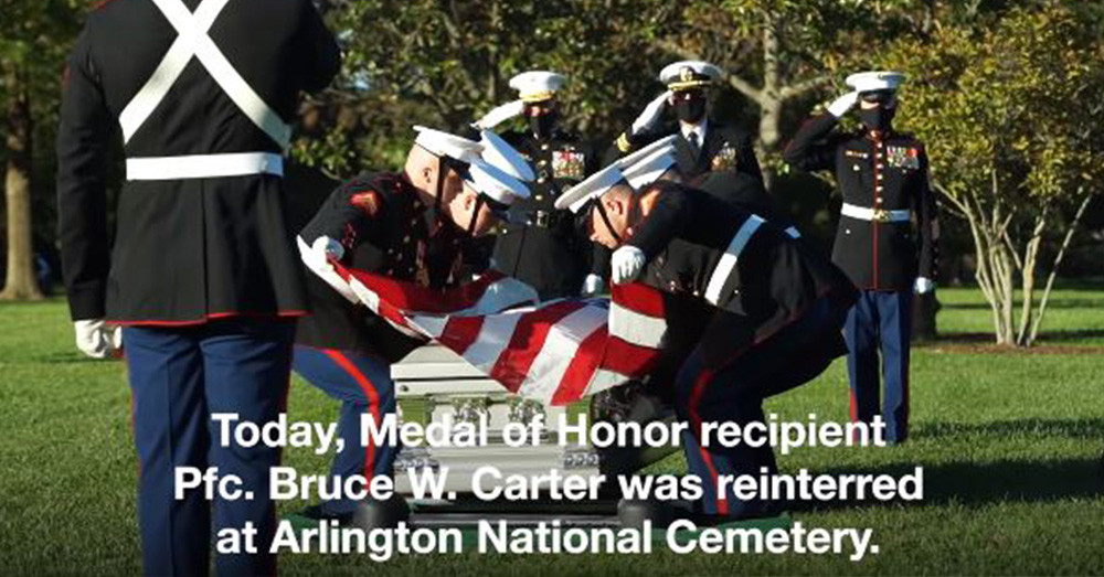 Pfc. Bruce W. Carter was laid to rest at Arlington National Cemetery.