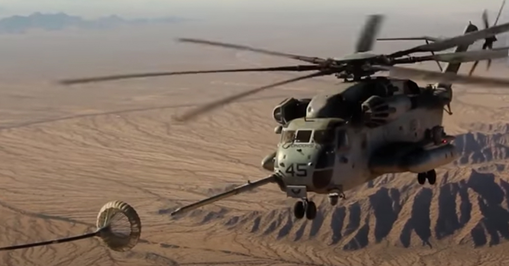 The Marine Corps airwing supports troops in the field with helicopter gunships, fighter planes from sea based carriers, and medevac and transport helicopters.