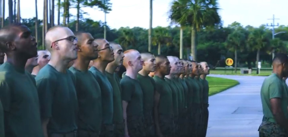 Marines sing out the birthday cadence in the video below.