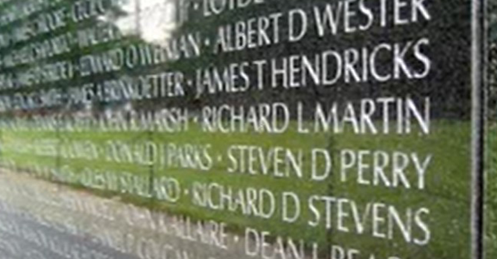 Names on the Vietnam War Memorial Wall tell the story of those who never came back from war.
