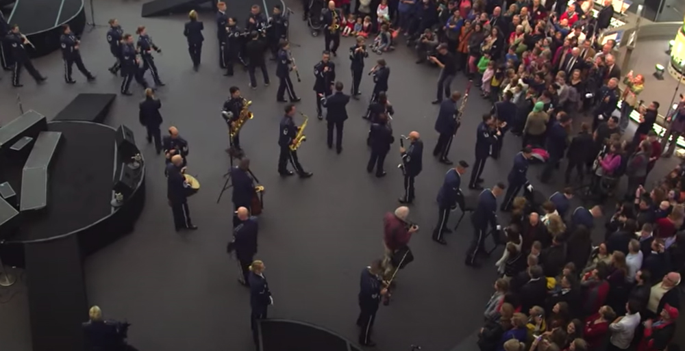 Dozens of members of the United States Air Force Band and Choral unit play in the museum.