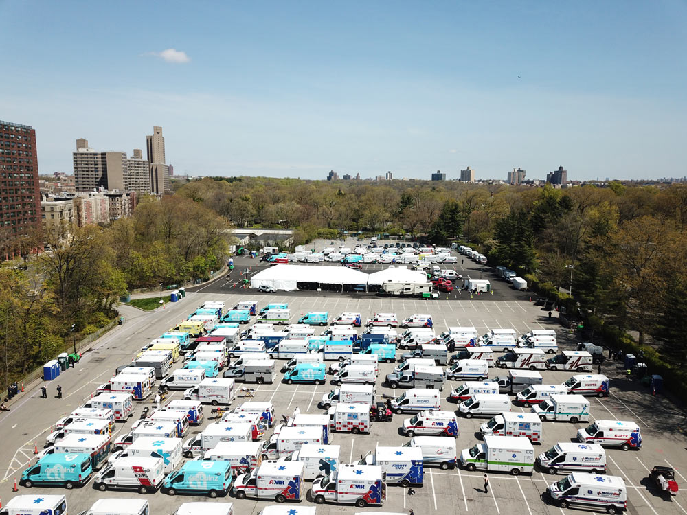 Hundreds of ambulances and emergency personnel from around the country descended on New York City in April 2020 at the peak of the COVID-19 crisis. The Bronx Zoo opened its parking lots and served as a home based for the visiting ambulances. Another parking lot at the Bronx Zoo was used by Montefiore Medical Center as a COVID-19 testing site.