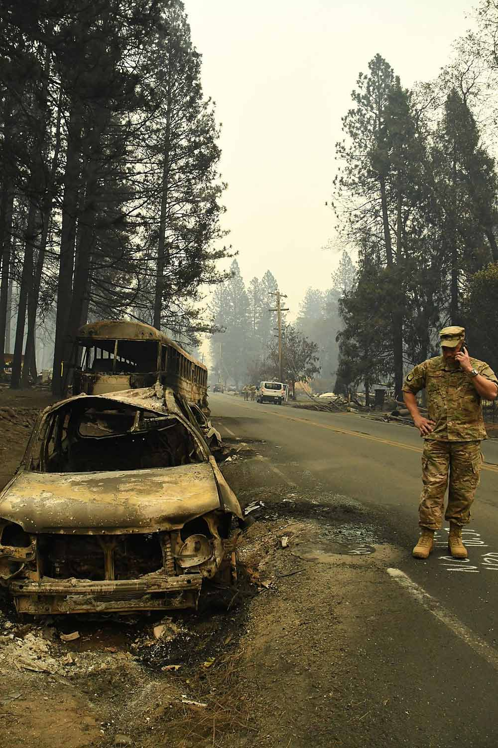 Col. Vic Teel, director of operations for the California Military Department Joint Staff, reports on the devastation in Paradise, California.