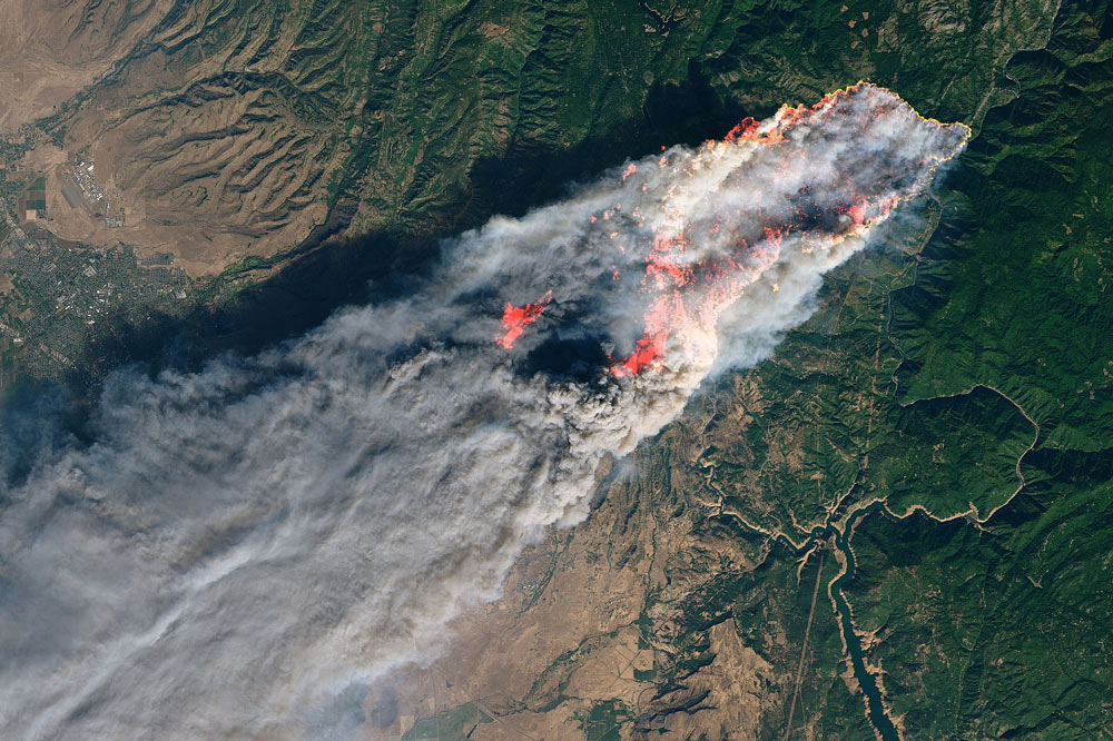 A view of the deadly Camp Fire from space.