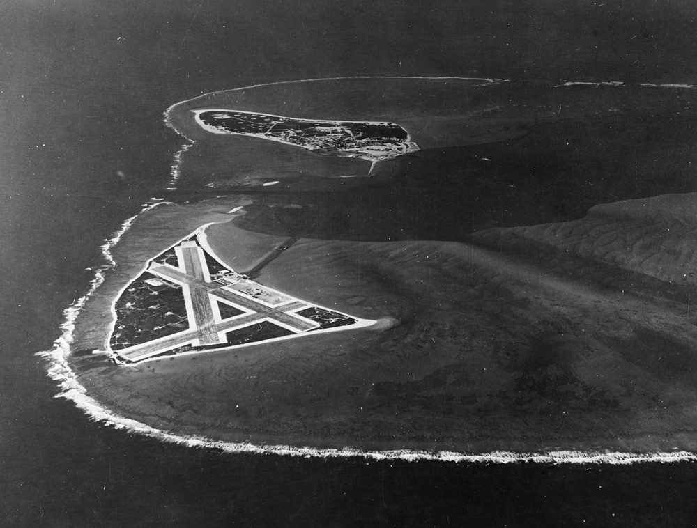 Midway Atoll, looking just south of west across the southern side of the atoll, 24 November 1941.