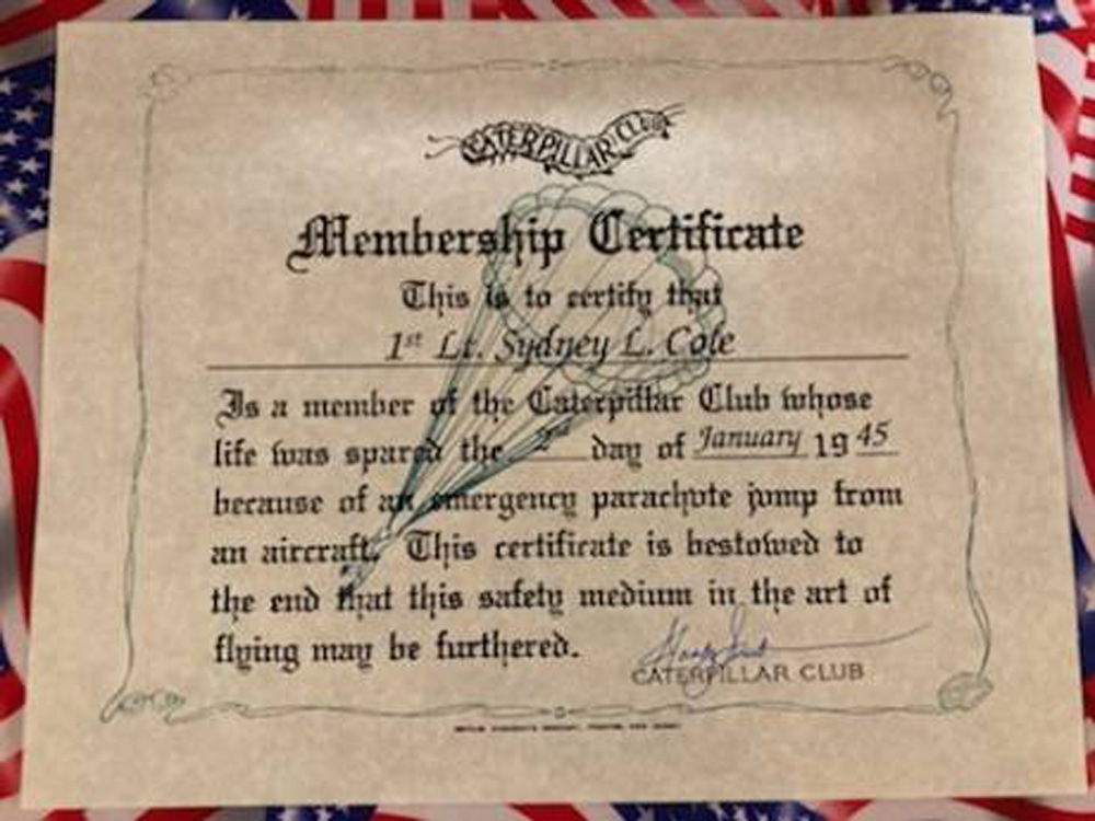Finally, Capt. Cole is a member of the Caterpillar Club!