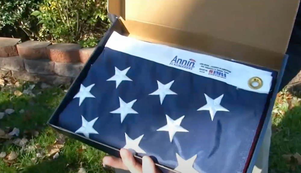 Comcast purchases the flags for the the Vet Net Flag Replacement Program.