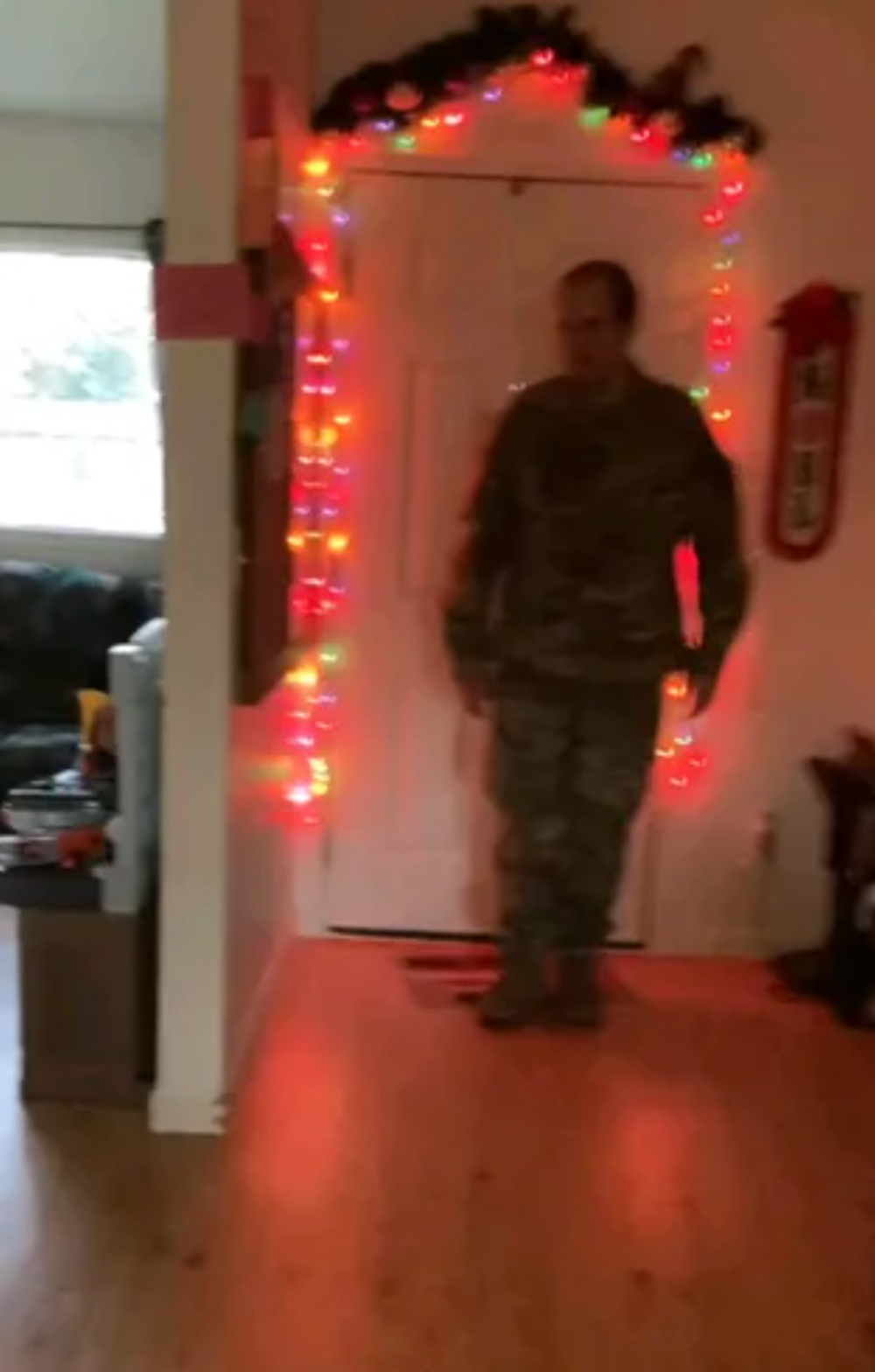 Dad arrives home.