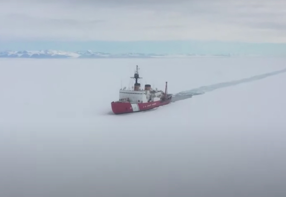 The USCGC Icebreaker Polar Star is headed north.
