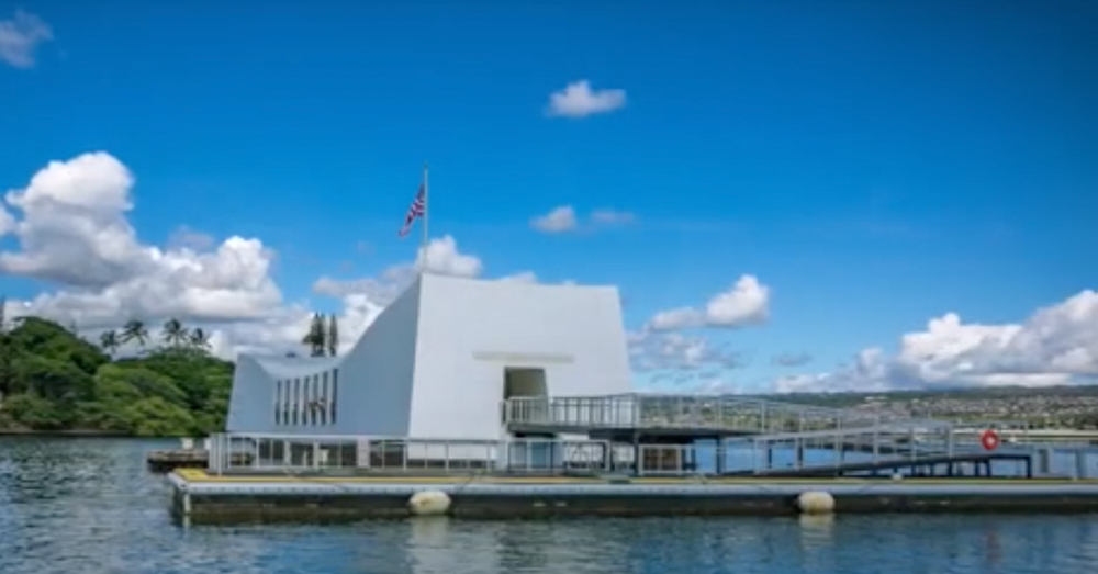 The Pearl Harbor monument was built over the sunken USS Arizona.