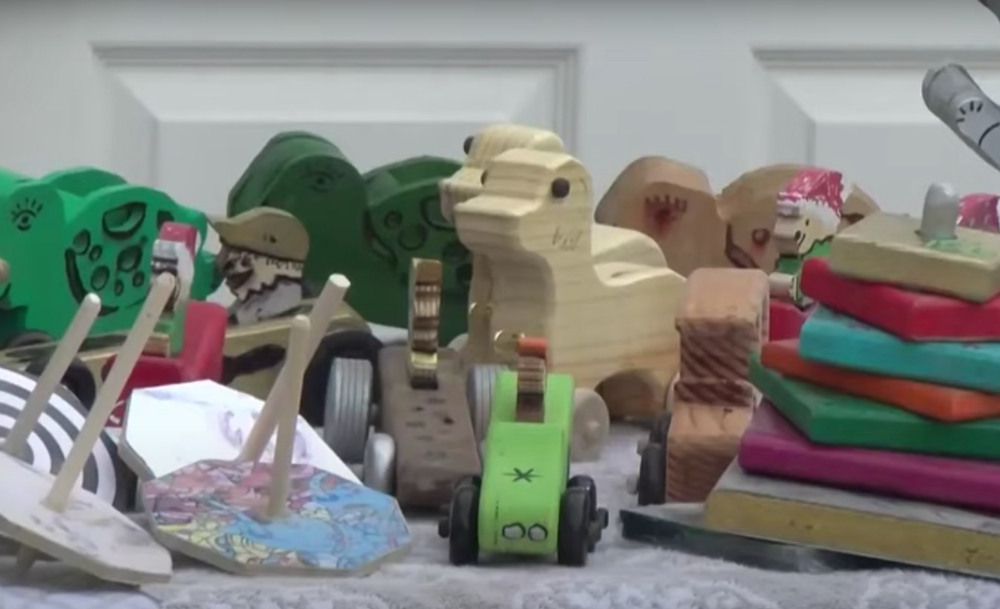 The Sullivans have been making these wooden toys for seven years.