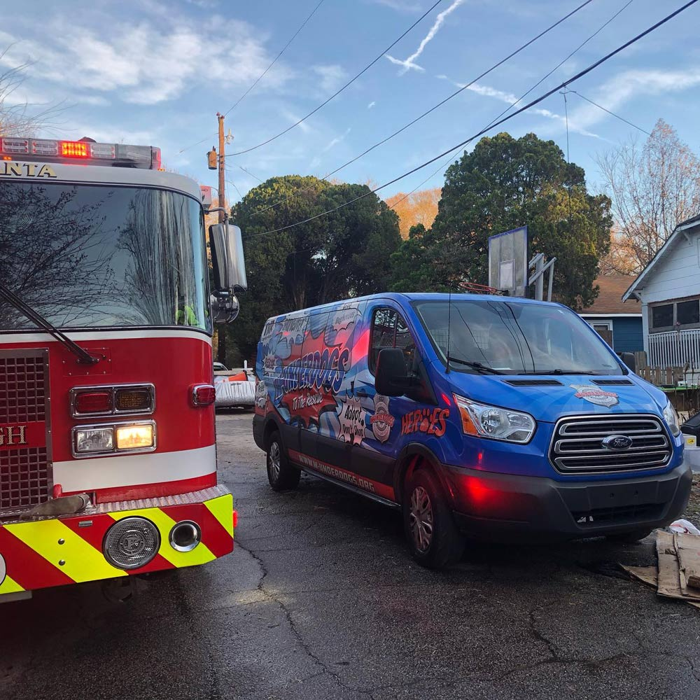 The W-Underdogs shelter in Southside Atlanta was badly burned in a fire.