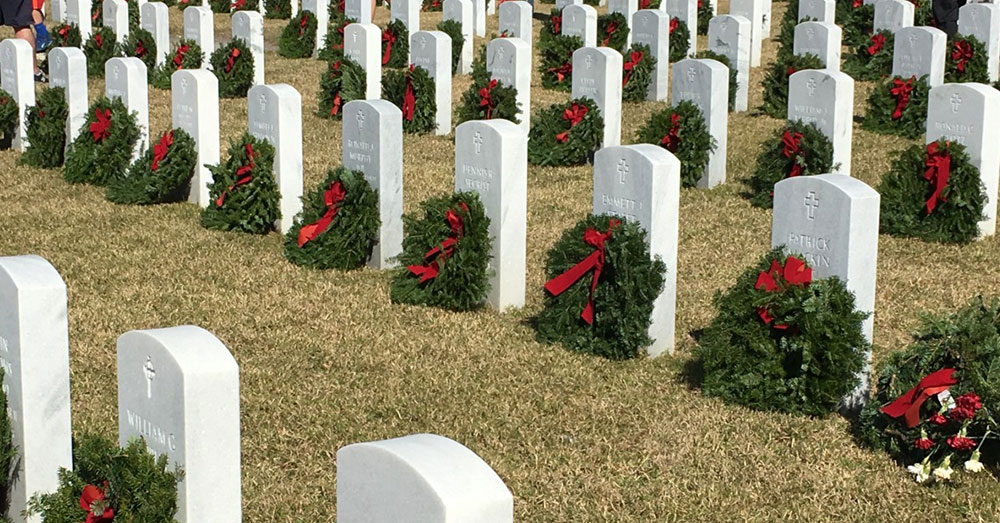 Every National Wreaths Across America Day, wreaths are placed on the graves of the fallen.