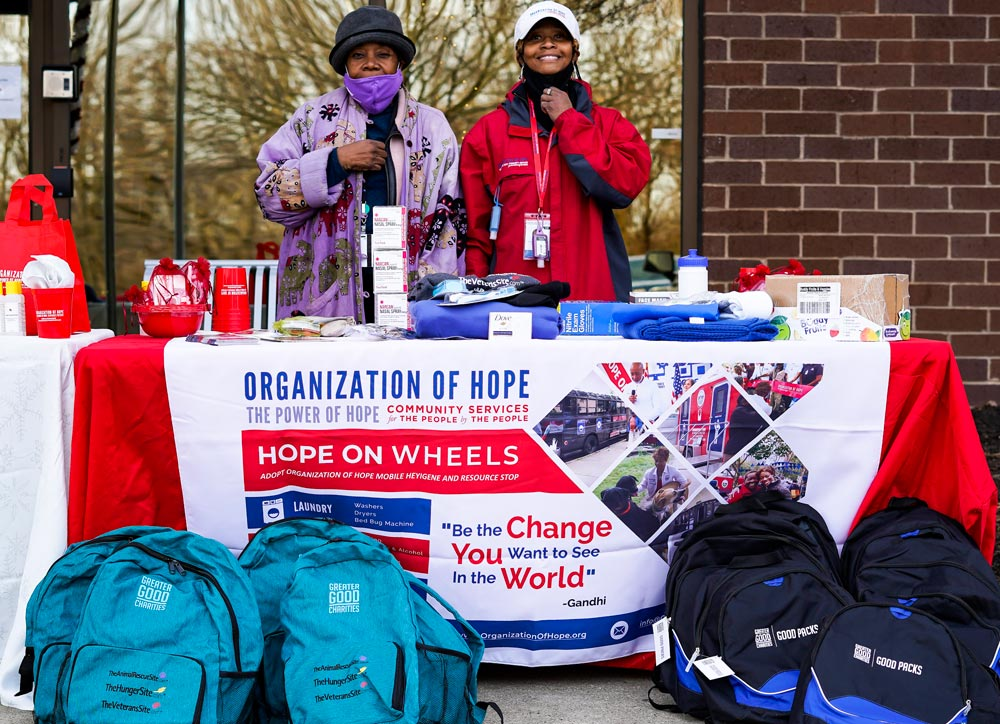 The Organization of Hope table with Good Packs in front of First Baptist Church of Glenarden.