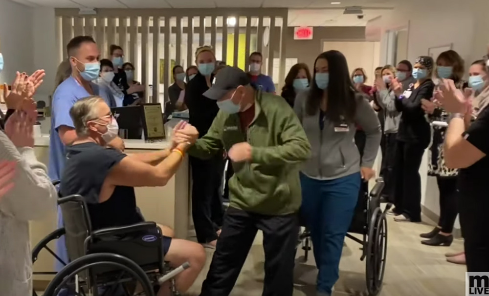 Jones was given a standing ovation on his way out of the hospital.