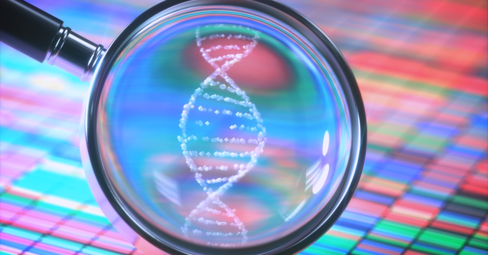 Magnifying glass over a DNA Sanger Sequencing chart shows double-helix DNA shape