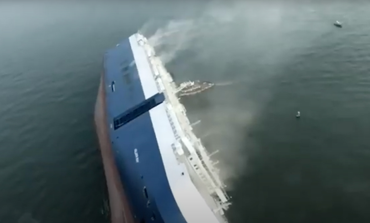 A Coast Guard ship rights itself after capsizing.