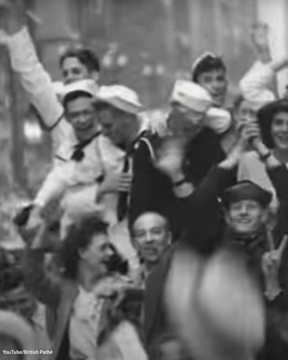 Veterans and civilians celebrate the end of war in 1945.