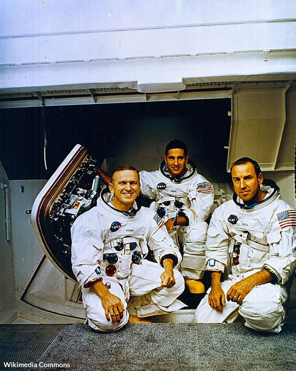 The Apollo 8 Crew (L to R) Frank Borman, commander; William Anders, Lunar Module (LM) Pilot; and James Lovell, Command Module (CM) pilot pose in front of the Apollo mission simulator during training.