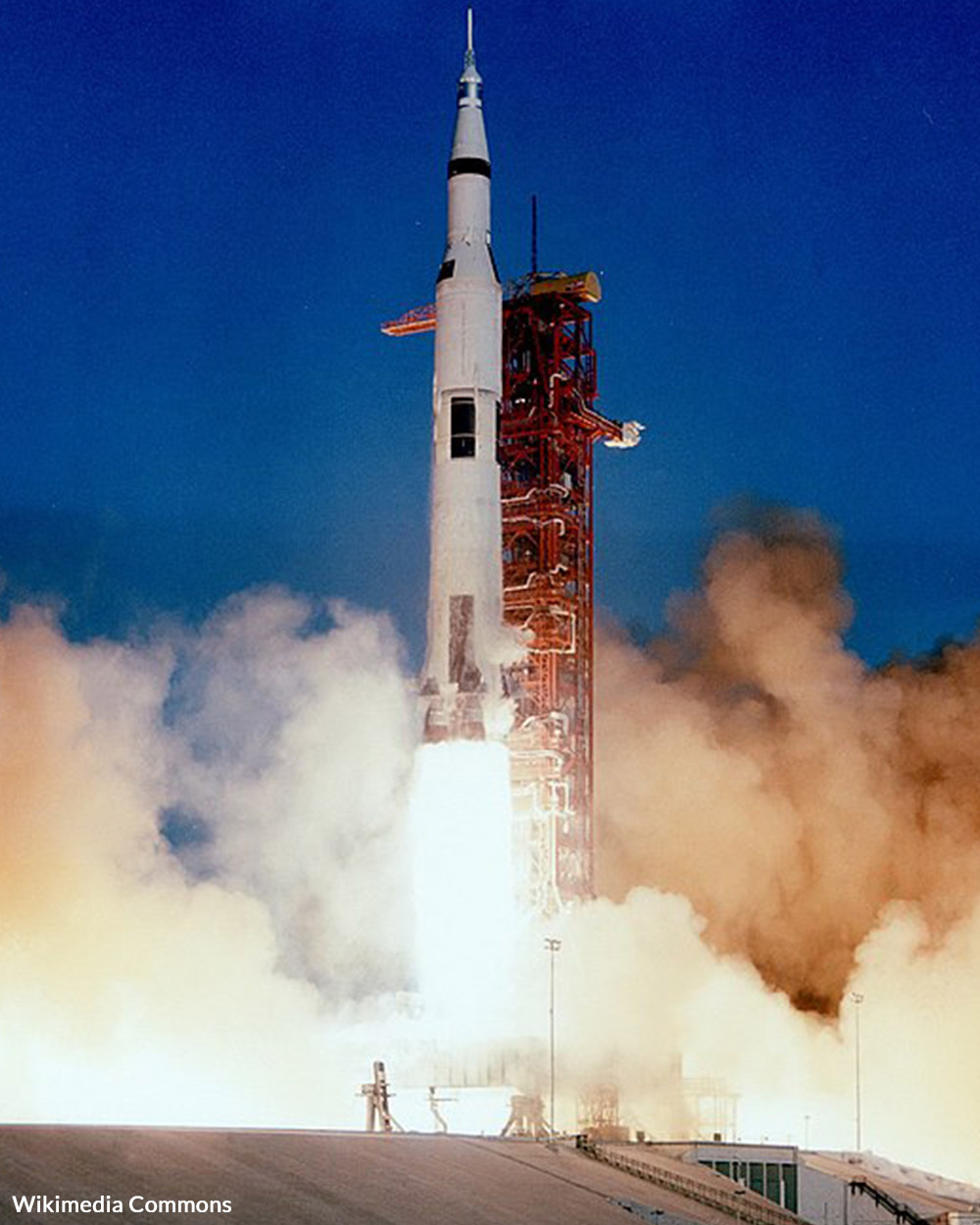The Apollo 8 rocket lifts off from Earth.