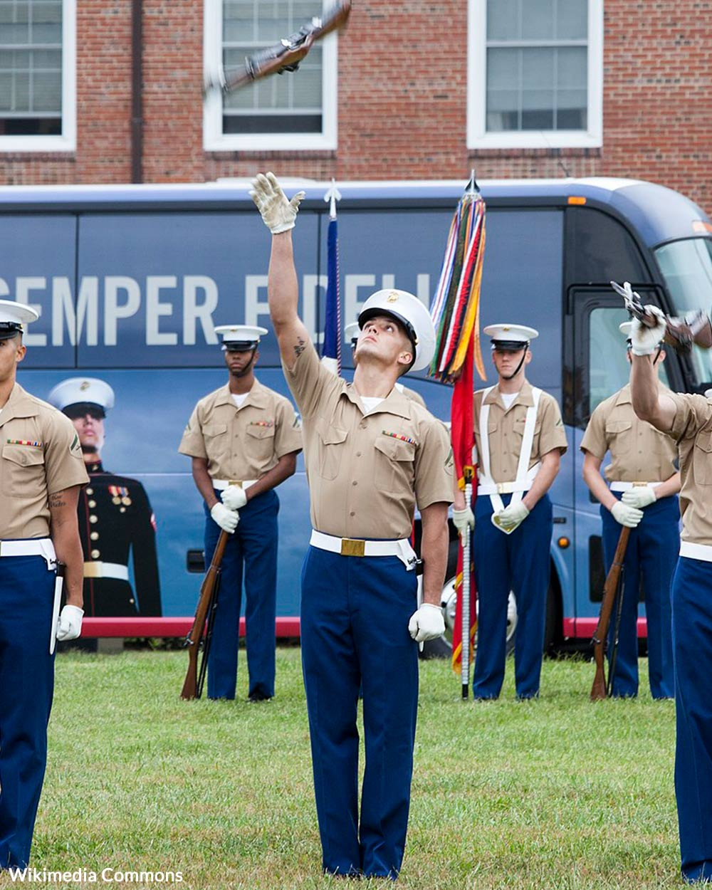 The United States Marine Corps Silent Drill Platoon performs at the United States Marine Corps Enlisted Awards Parade and Presentation held at Marine Corps Base Quantico, Va.