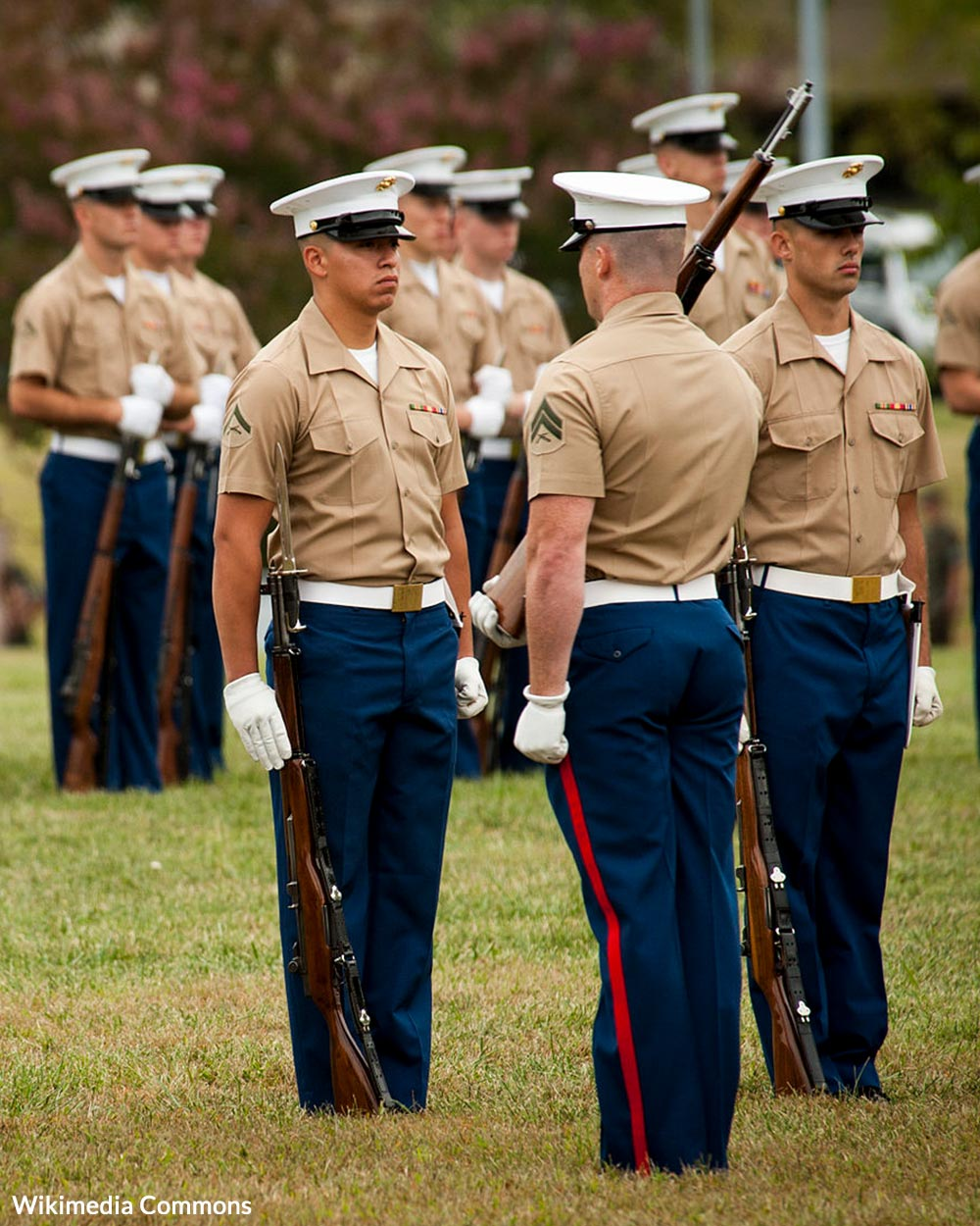 The United States Marine Corps Silent drill Platoon performs at the United States Marine Corps Enlisted Awards Parade and Presentation held at Lejeune Hall, Marine Corps Base Quantico, Va.