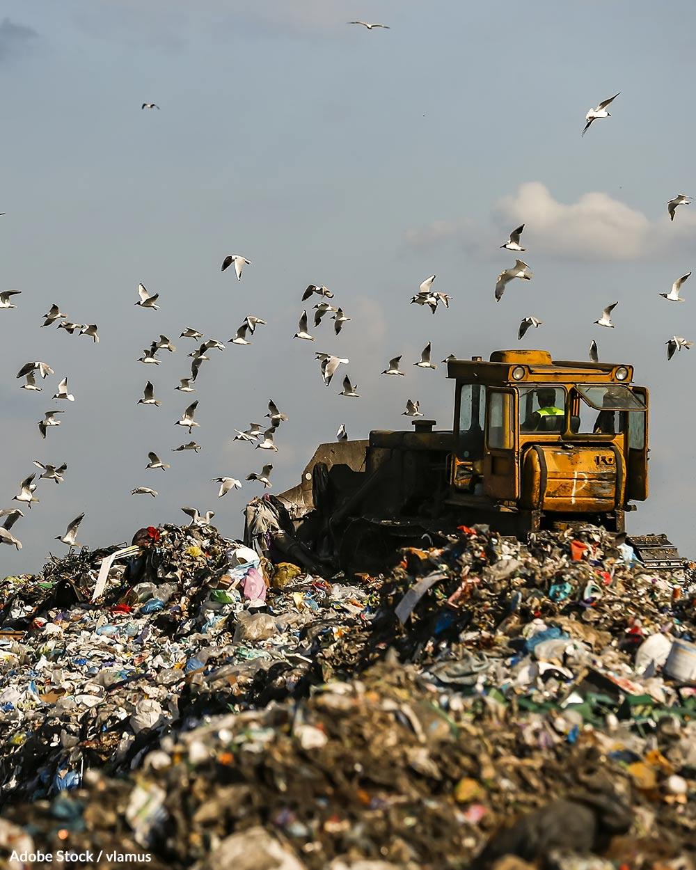 Trash in landfills releases methane as it breaks down.