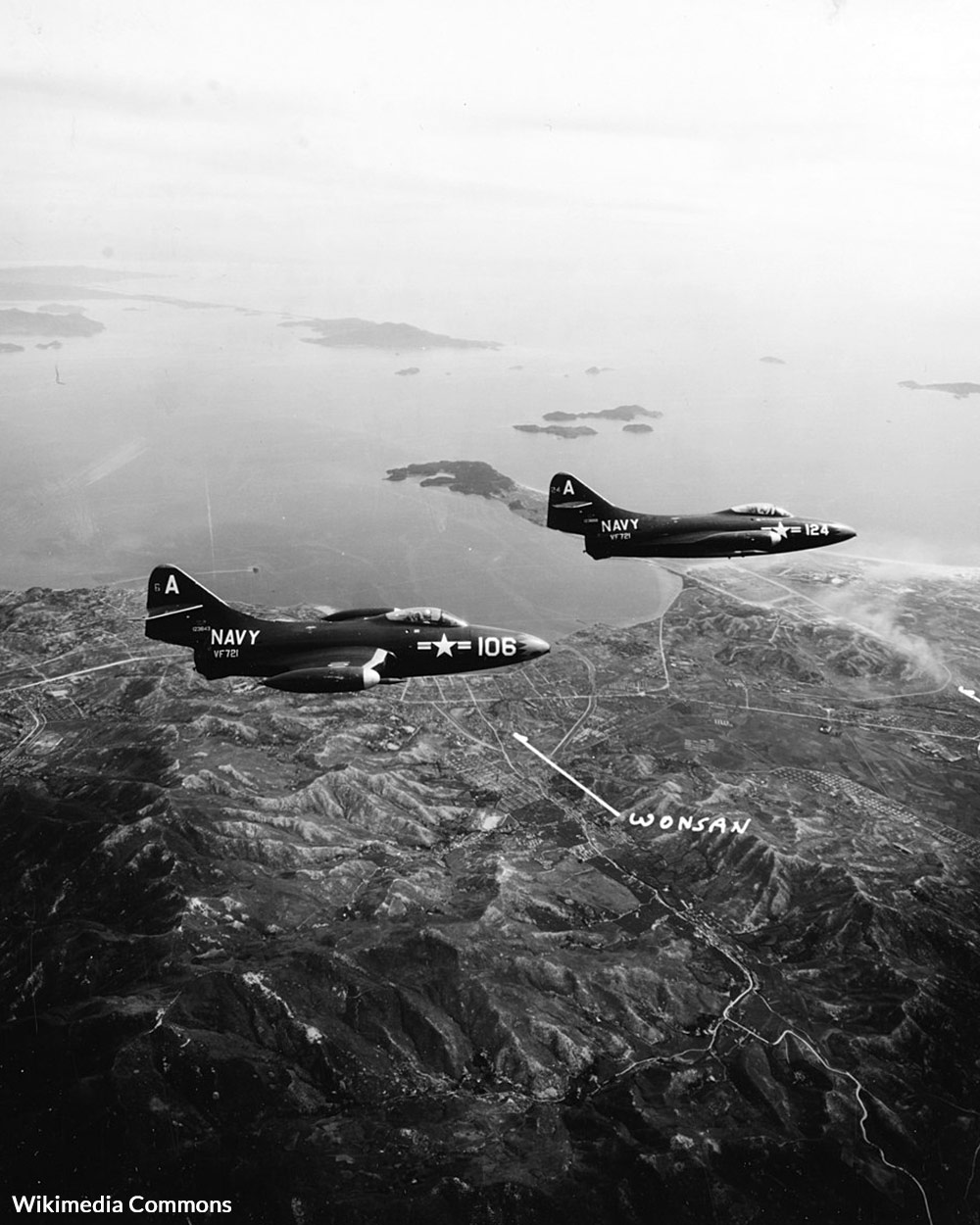 F9F-2 Panthers of VF-721 in flight over Wonsan, Korea, on 6 June 1951.