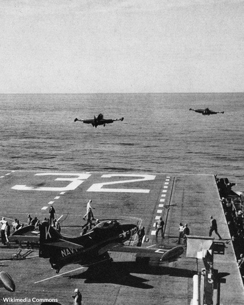 F9F-2 Panthers of VF-31 are launched from USS Leyte (CV-32) in 1951.