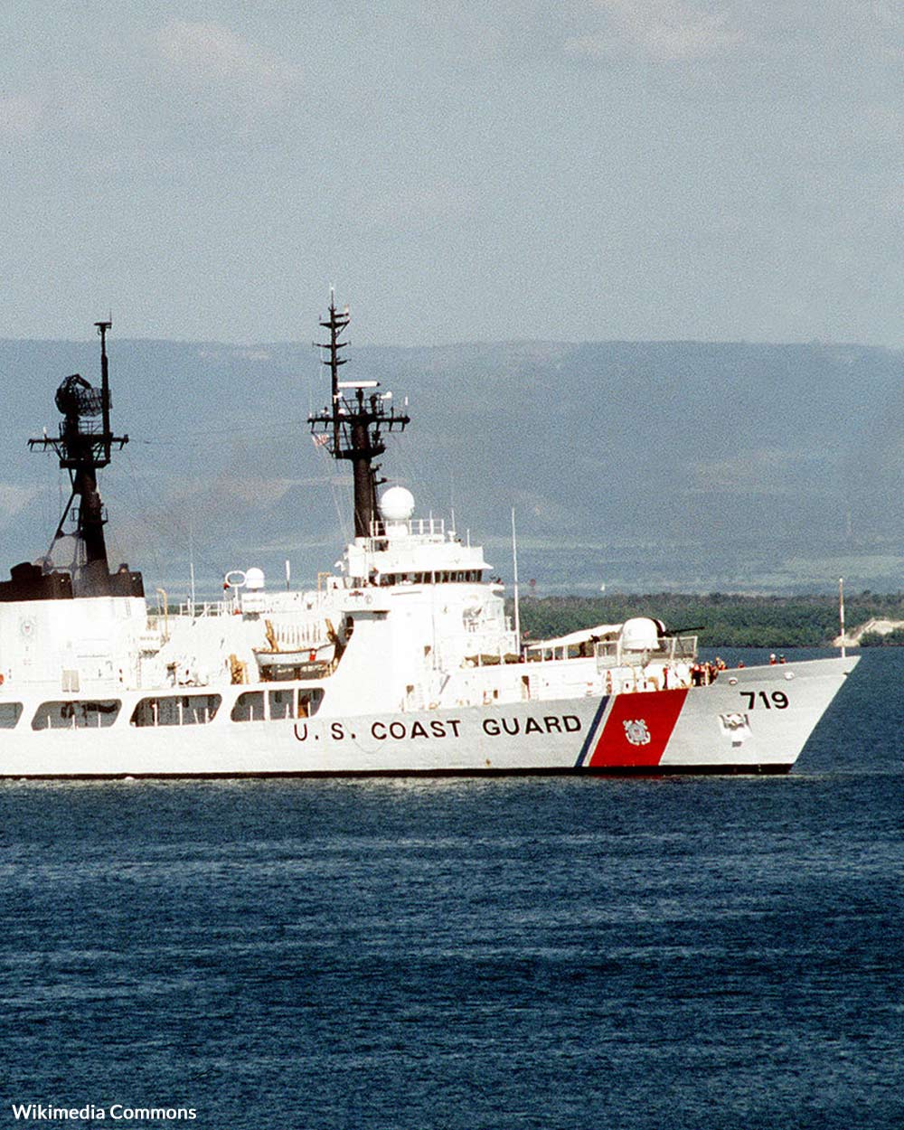 The U.S. Coast Guard Cutter BOUTWELL leaves the Haitian safe haven with Haitian repatriates on board.